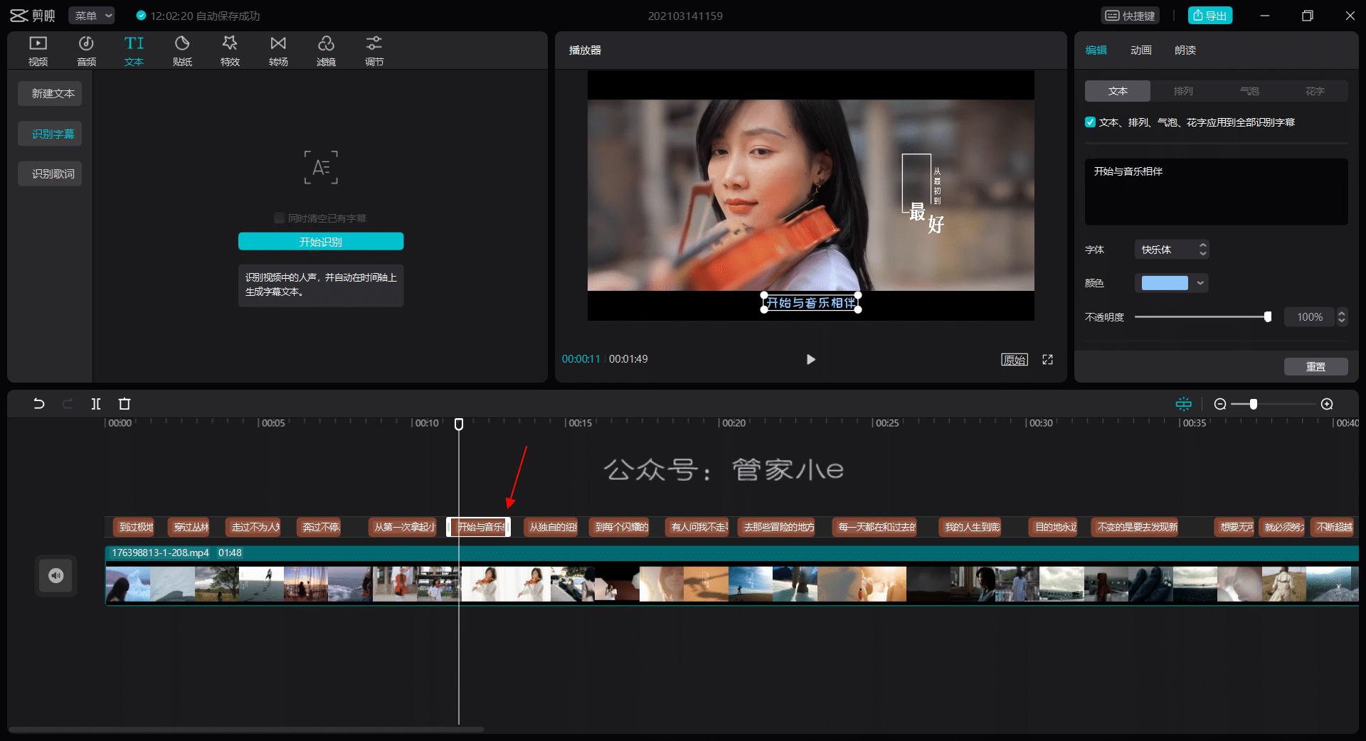 国产神器!视频字幕自动识别,一键添加字幕,完全免费,视频后期必备!-管家小e